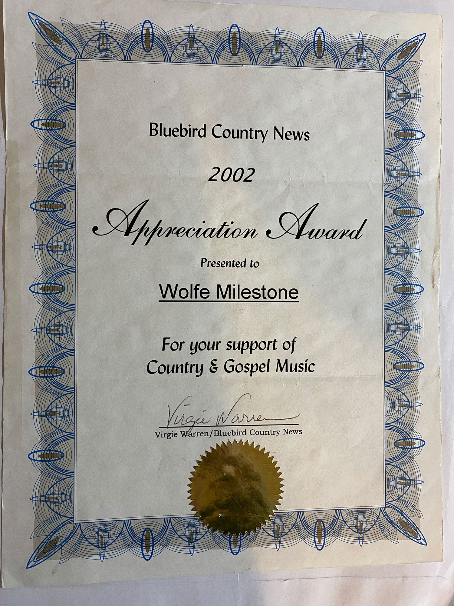 Bluebird Country Appreciation Award 2002